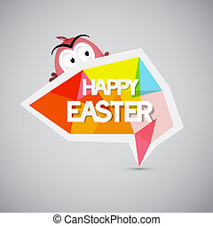 Easter Background, Colorful Label with Chicken