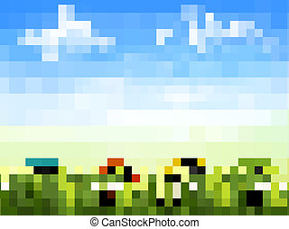 Easter background. Easter eggs laying in green grass with daisy under blue sky. Vector.
