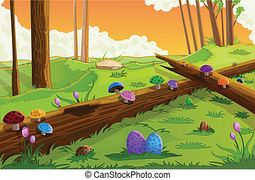 Easter Background - easy to edit vector illustration of...