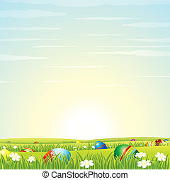 Easter Background. Eggs in Green Grass. Vector - Easter...