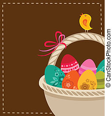 Easter background with basket and eggs