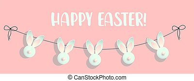 Easter background. Festive design composition top view. bunnies. Golden confetti decoration, garland with rabbits .. Happy Easter. Horizontal banner, postcard, flyer. Greeting card. Pink tender spring.