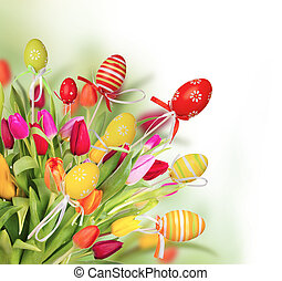 Easter background - Fresh spring tulips with colored eggs