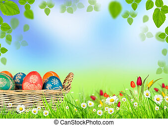 Easter background - Happy Easter basket with eggs