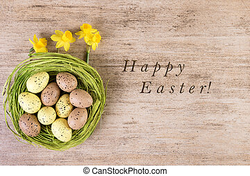 Easter Background Happy Retro Decoration Green Nest With Daffodils On Rustic Light Brown