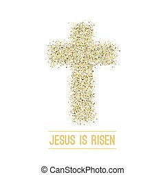 Easter background. He is risen. Gold Vector