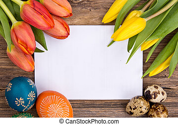 Easter background - Easter still life with empty card for...