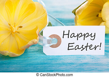 Easter Background with Label with Happy Easter on it