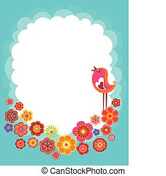 Easter background with a bird - Easter background with with ...