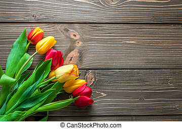 Easter background with beautiful tulips