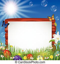 Easter background with blank sign