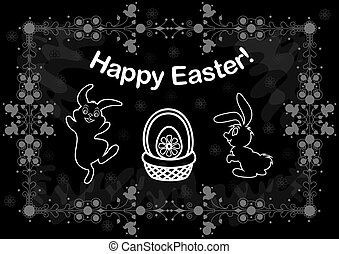 Easter background with bunnies