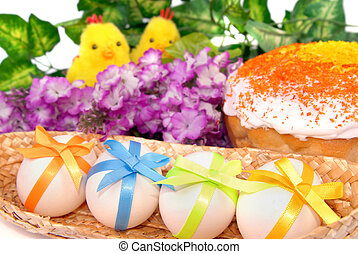 Easter background with cake, eggs and two chicken