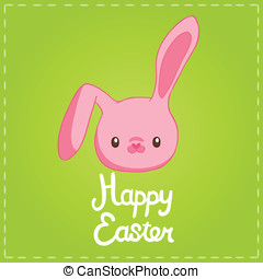 Easter background with cartoon cute bunny