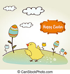 Easter background with chicken