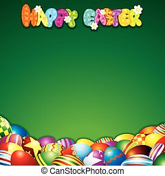 Easter Background with Colorful Painted Eggs