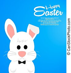 Easter background with cute white bunny