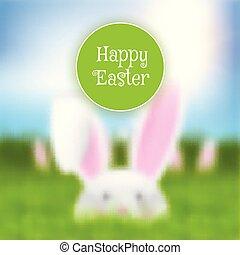 Easter background with a defocussed rabbit landscape