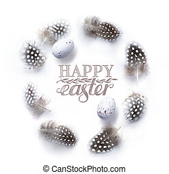 Easter background with Easter decoration on white table