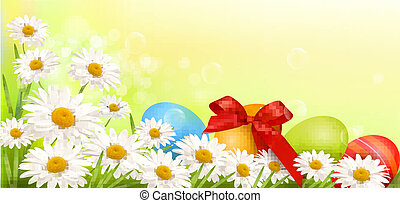 Easter background with Easter eggs and spring flowers Vector...