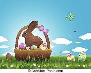 Easter background with eggs and chocolate bunny