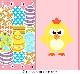 Easter background with eggs and funny chicken ,pink