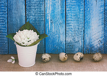 Easter  background with eggs and snowdrops