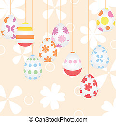 Easter background with eggs on cords. A vector illustration
