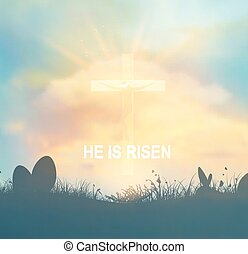 Easter Background With Jesus And Cross