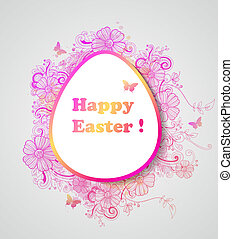 Easter background with pink flowers