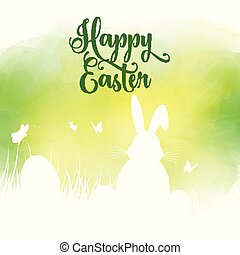 Easter background with silhouette of bunny in grass on a watercolour texture