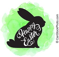 Easter background with silhouette of rabbit