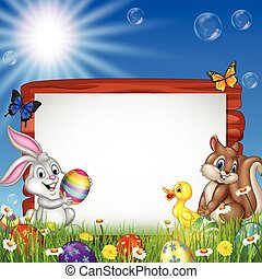Easter background with small animals and blank sign