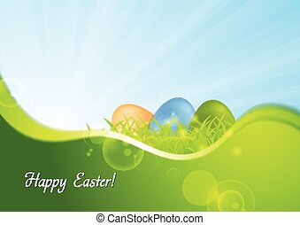 Easter background with wave and sunshine