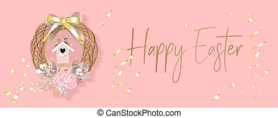 Easter banner. Background design of realistic birdhouse for birds, golden confetti and a wreath of glitter branches, delicate flowers, baubles. Horizontal easter poster, postcard, website headers. Pin.