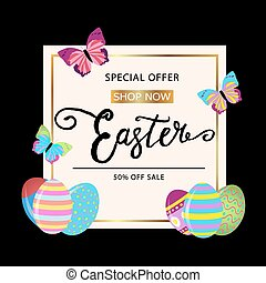 Easter  banner background template with beautiful colorful butterfly and eggs.