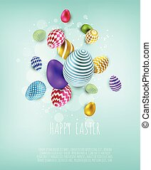 Easter banner background template with beautiful colorful eggs. Vector illustration