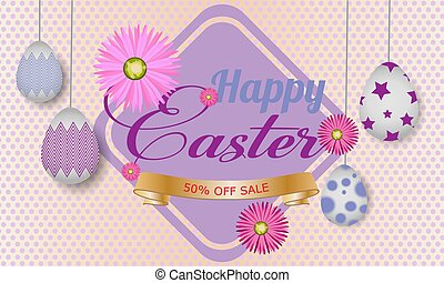 Easter  banner background template with beautiful colorful spring flowers and eggs. Vector illustration.