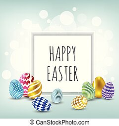 Easter banner background template with beautiful colorful spring flowers and eggs.