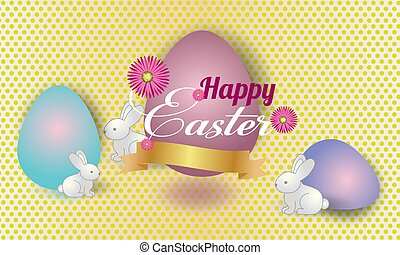 Easter  banner background template with beautiful colorful spring flowers and eggs. Vector.