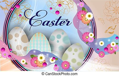 Easter  banner background template with beautiful colorful spring flowers and eggs. Vector illustration. - Images vectorielles