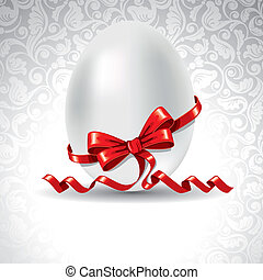 Easter banner - Easter greetings card with egg and red...