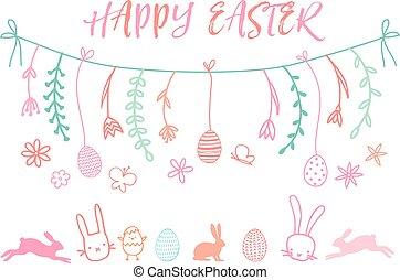 Easter banner, vector set