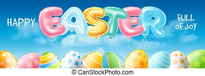 Easter Banner With Balloons Letters Easter