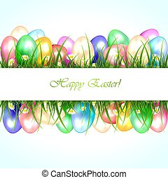 Easter banner with eggs in a grass