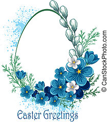 Easter banner with spring flowers