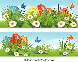 Easter banners with multicolored eggs in a grass