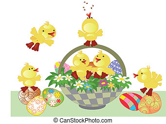 Easter basket and  ducklings