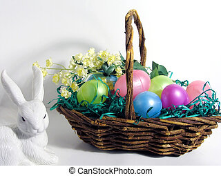 Easter Basket - Easter basket with yellow flowers and white...