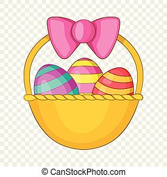 Easter basket icon, cartoon style
